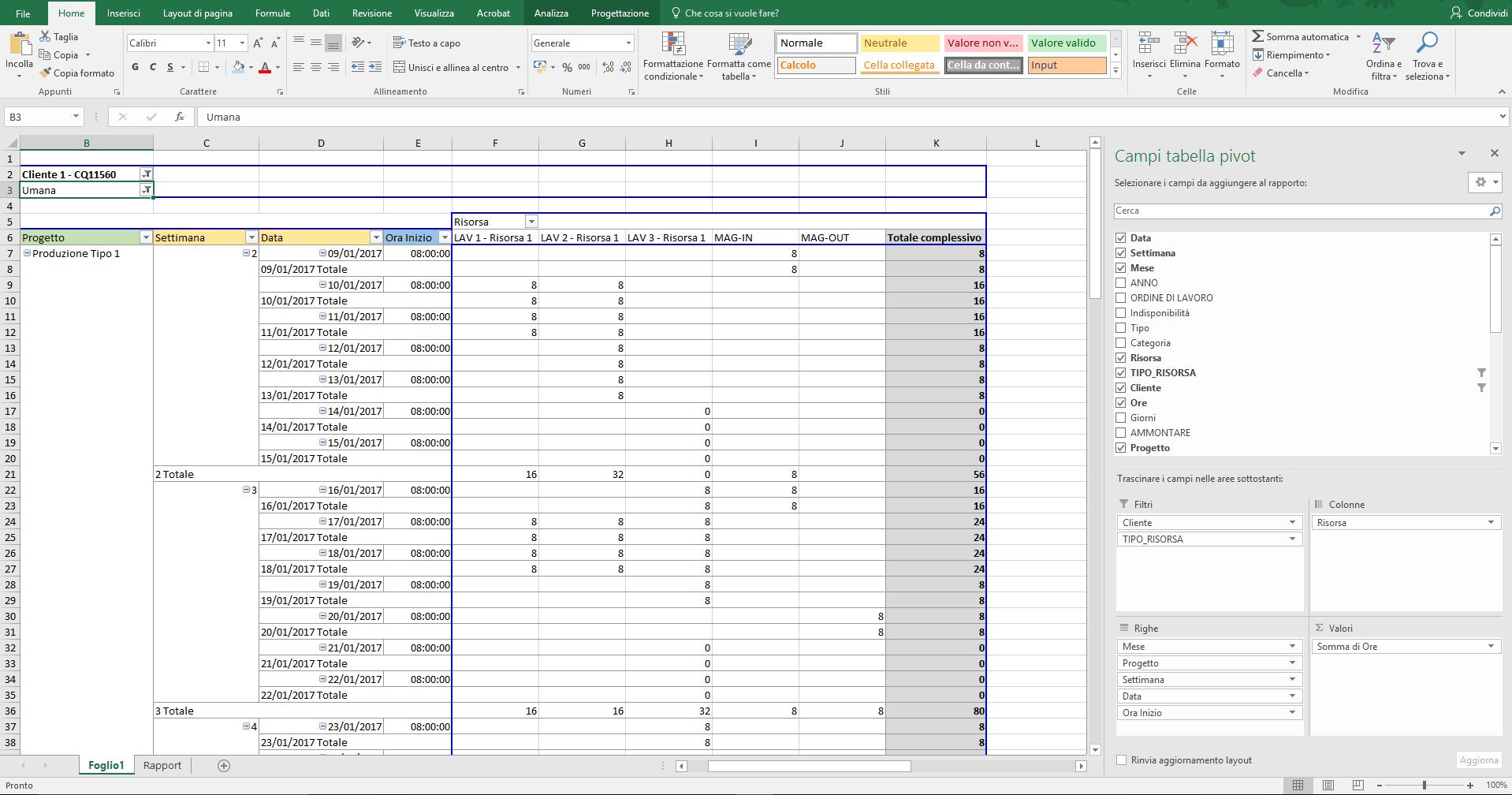 Esportazione PlanningPME Excel Pivot