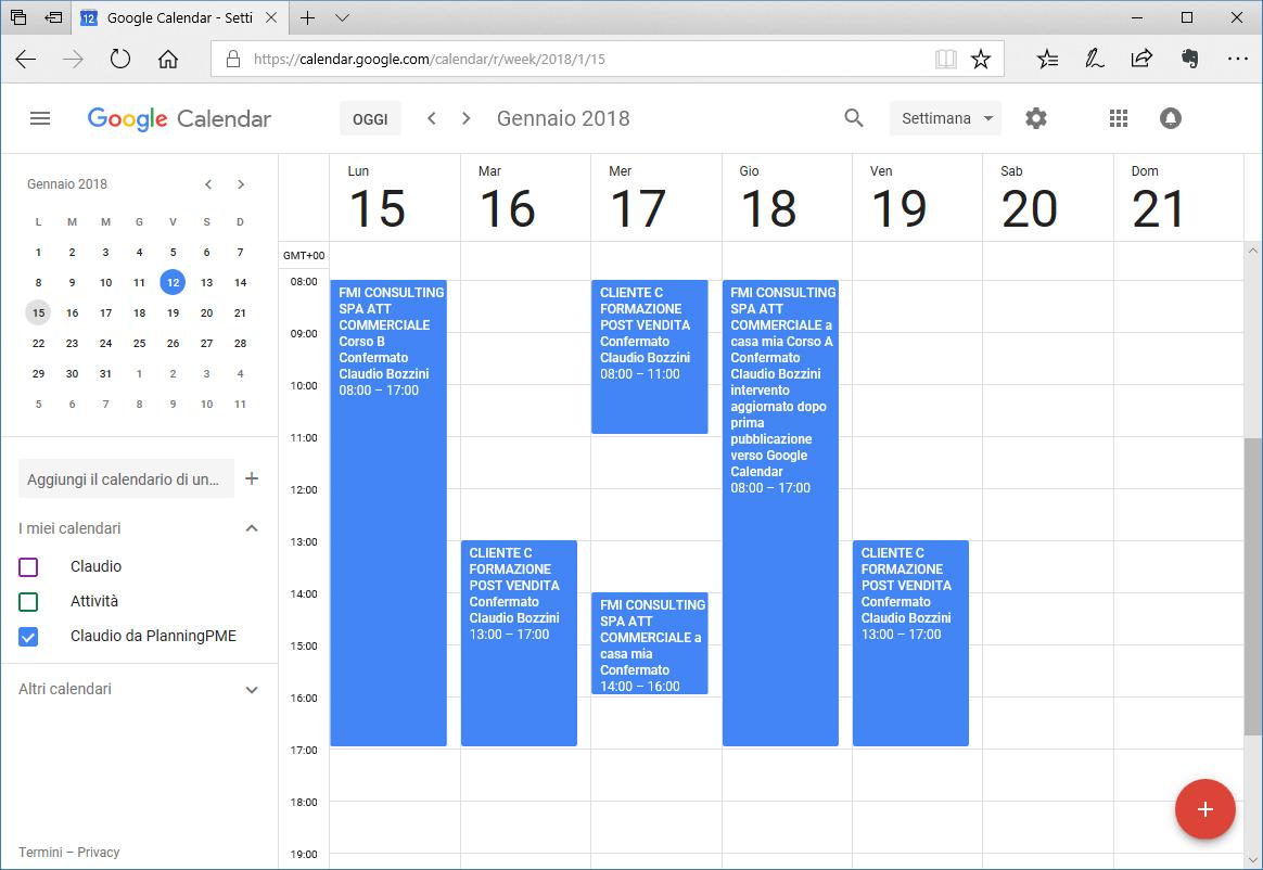 Google Agenda e PlanningPME