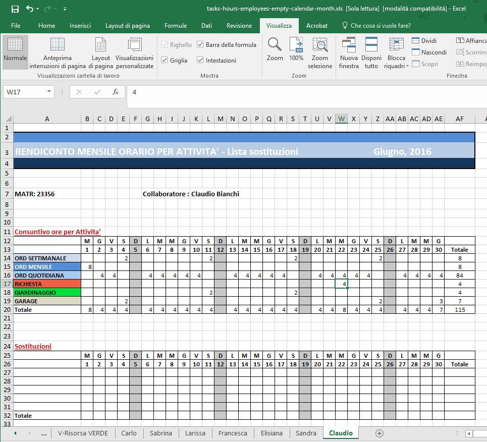 Calendario Presenze Excel.Nuova Estrazione Delle Attivita Mensili In Excel Fmi